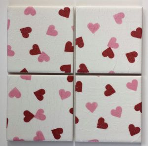 4 Ceramic Coasters in Emma Bridgewater Pink Red Hearts
